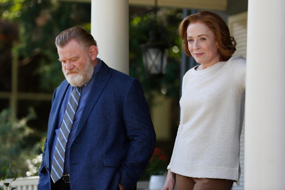 Brendan Gleeson and holland Taylor talk on a porch