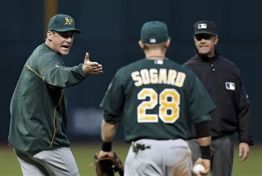 Oakland Athletics manager Bob Melvin, left, argues a call with second base umpire Paul Nauert in the fifth inning of a baseball game against the Cleveland Indians Tuesday, May 7, 2013, in Cleveland. Nauert ruled Athletics second baseman Eric Sogard (28) missed the tag on Indians' Mike Aviles in a rundown between first and second. (AP Photo/Mark Duncan)