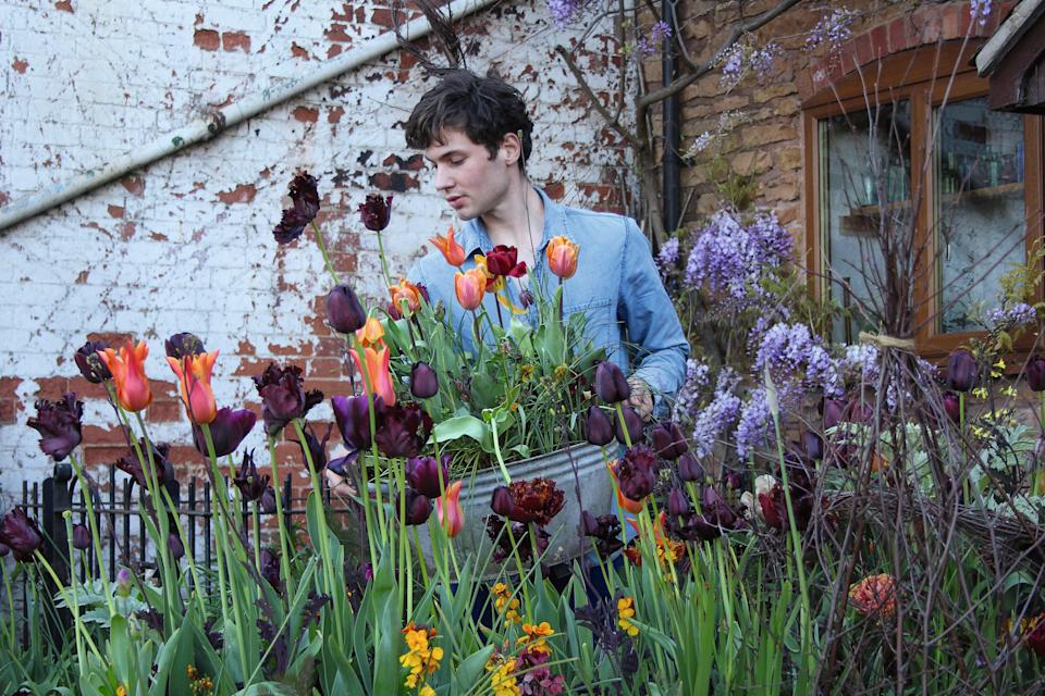 <p>Arthur Parkinson keeps costs low by saving bulbs from year to year</p> (Arthur Parkinson)