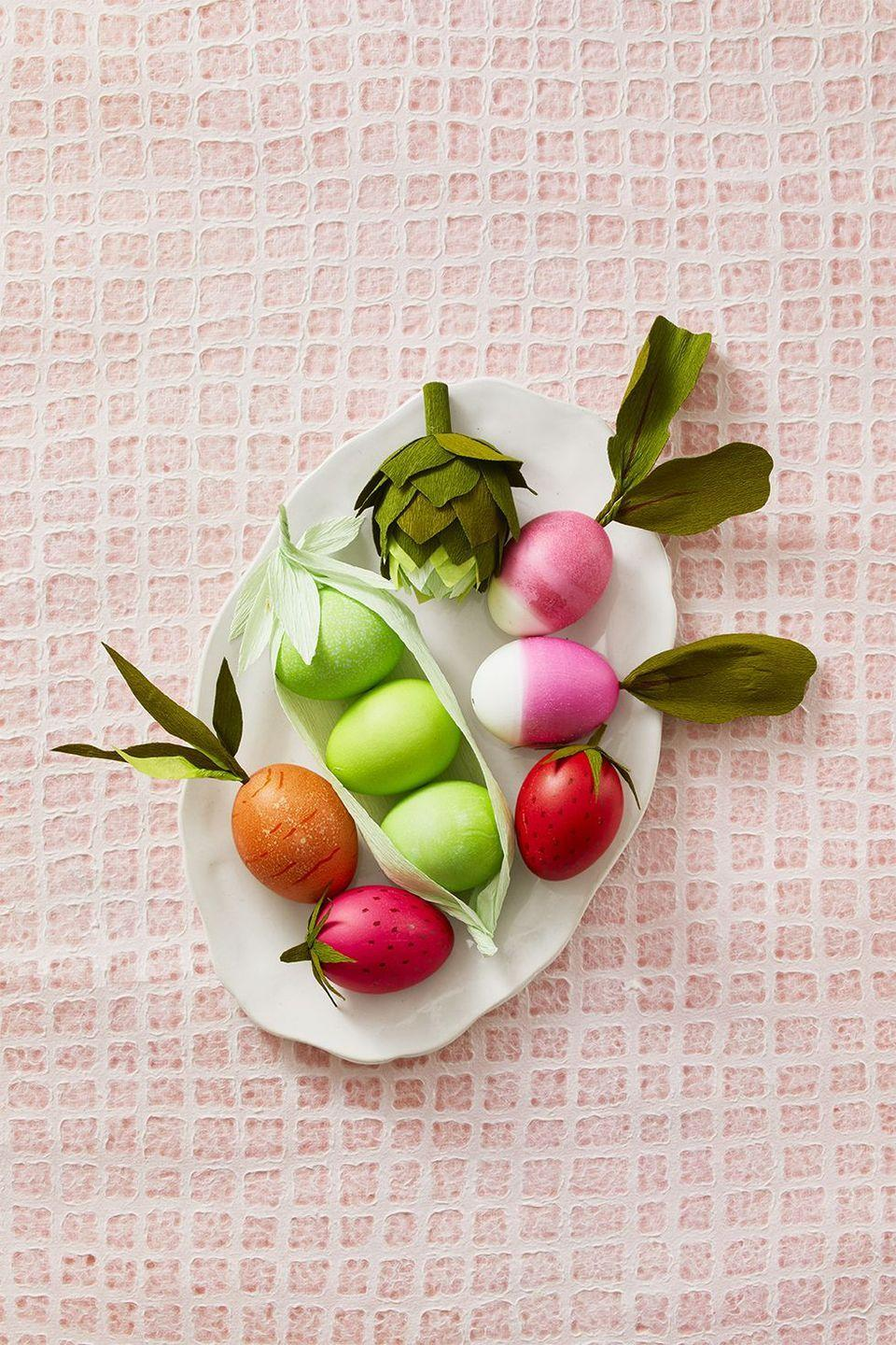 "<p>Make sure you don't confuse these eggs for actual vegetables when preparing your <a href=""https://www.womansday.com/food-recipes/food-drinks/g2874/easter-dinner-ideas/"" rel=""nofollow noopener"" target=""_blank"" data-ylk=""slk:Easter dinner"" class=""link rapid-noclick-resp"">Easter dinner</a> or <a href=""https://www.womansday.com/food-recipes/g2867/easter-brunch-recipes/"" rel=""nofollow noopener"" target=""_blank"" data-ylk=""slk:Sunday brunch"" class=""link rapid-noclick-resp"">Sunday brunch</a>!</p><p><em>Get the tutorial at <a href=""https://www.goodhousekeeping.com/holidays/easter-ideas/g419/easter-egg-decorating-ideas/?slide=3"" rel=""nofollow noopener"" target=""_blank"" data-ylk=""slk:Good Housekeeping"" class=""link rapid-noclick-resp"">Good Housekeeping</a>. </em></p>"