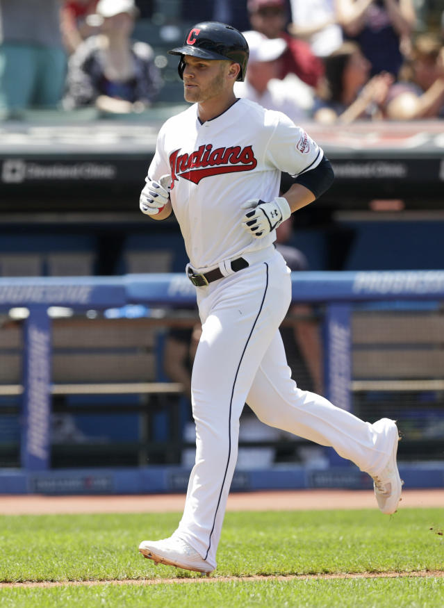 Cleveland Indians' Jake Bauers runs the bases after hitting a solo home run in the fourth inning in a baseball game against the Kansas City Royals, Wednesday, June 26, 2019, in Cleveland. (AP Photo/Tony Dejak)