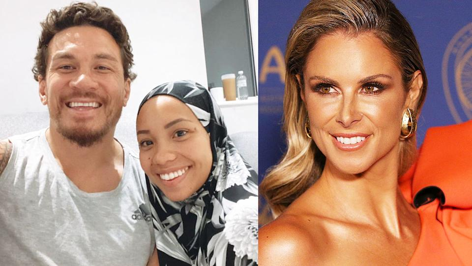 Pictured left, Sonny Bill Williams and his wife, with Candice Warner on the right.