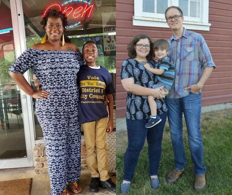 Erica Robbins (left), with her son, and Kate Hansen (right), with her son and husband.