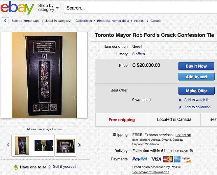The necktie allegedly comes with Rob Ford's hand-signed certificate of authenticity.