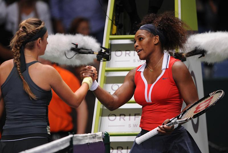 Serena Williams of the US, right, and Victoria Azarenka of Belarus shake hands after their tennis match on the third day of the WTA championship in Istanbul, Turkey, Thursday, Oct. 25, 2012. (AP Photo)