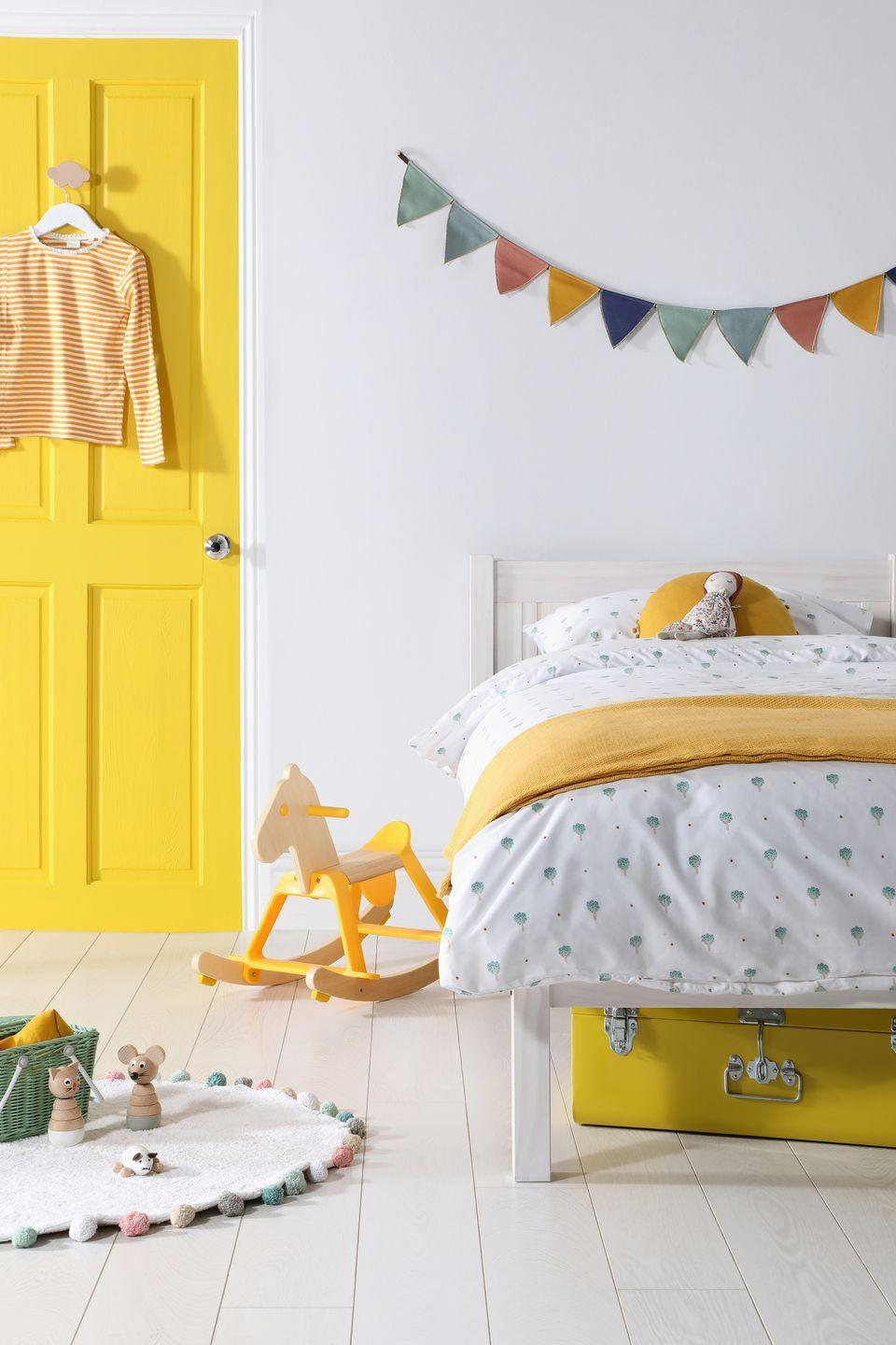 """<p>Another fabulous colour to consider for a girl's bedroom is sunshine yellow. It's bright and cheery and looks great with white. And, it can work well for boys too. Follow the colour through into the bedding – a cushion and a throw in a similar shade works wonders for a cohesive look.</p><p>Pictured: Sunny Days Rio white washed single bed, <a href=""""https://go.redirectingat.com?id=127X1599956&url=https%3A%2F%2Fwww.furniturechoice.co.uk%2Fbedroom%2Fbeds%2Frio-white-washed-single-bed_wb10000814&sref=https%3A%2F%2Fwww.housebeautiful.com%2Fuk%2Fdecorate%2Fbedroom%2Fg35589644%2Fgirls-bedroom-ideas%2F"""" rel=""""nofollow noopener"""" target=""""_blank"""" data-ylk=""""slk:Furniture Choice"""" class=""""link rapid-noclick-resp"""">Furniture Choice</a></p>"""