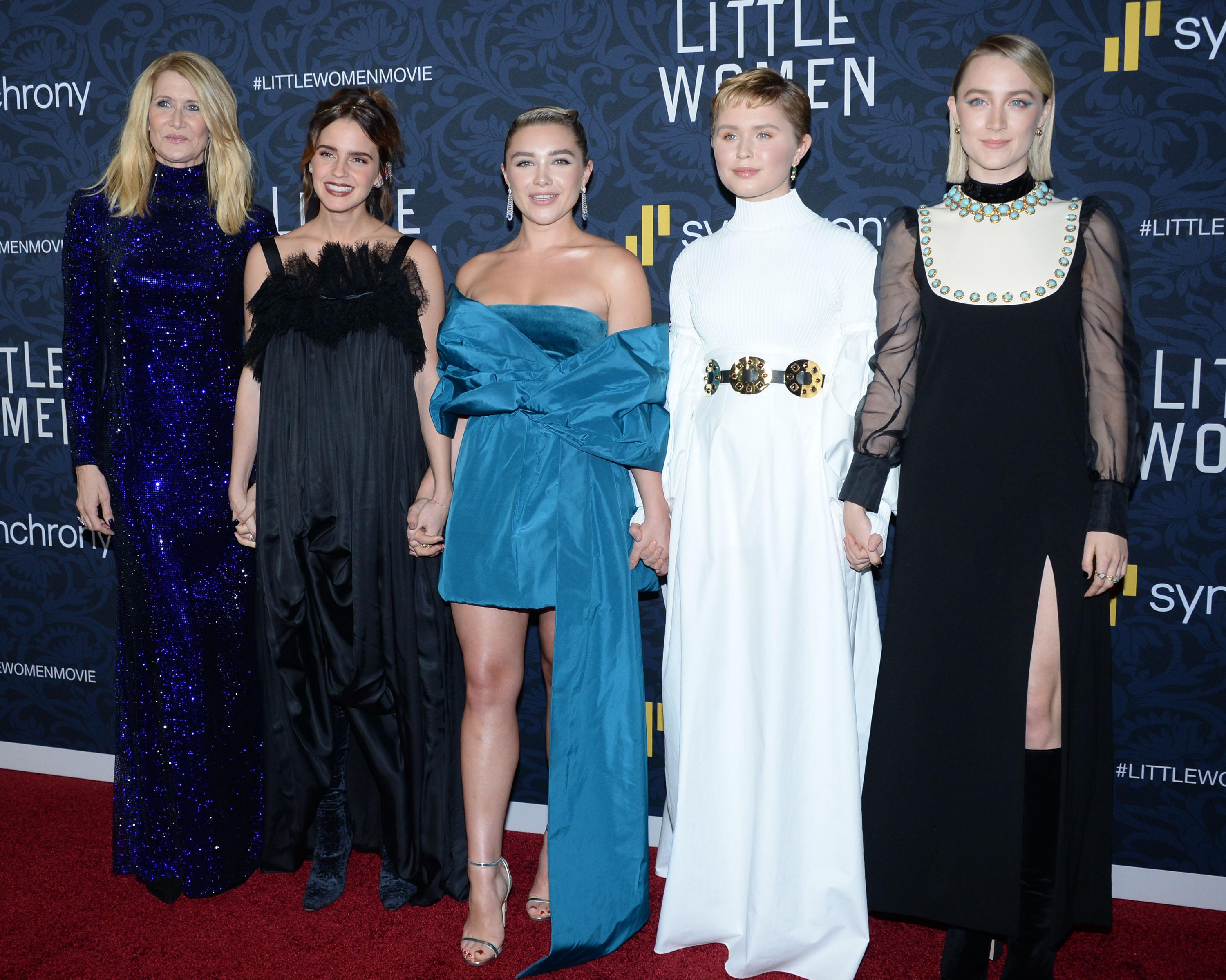 "NEW YORK, NEW YORK - DECEMBER 7: Laura Dern, Emma Watson, Florence Pugh, Eliza Scanlen, Saoirse Ronan attend ""Little Women"" World Premiere on December 7, 2019 at Museum of Modern Art in New York City. (Photo by Paul Bruinooge/Patrick McMullan via Getty Images)"