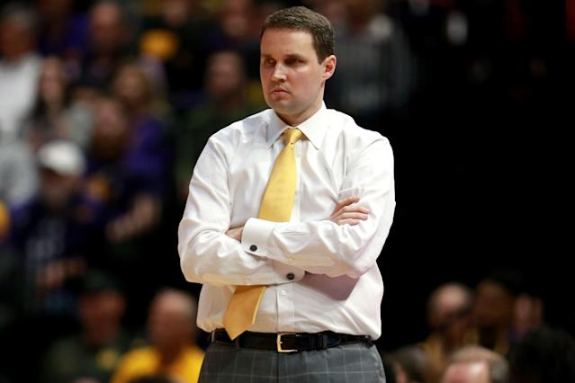 "LSU has suspended Will Wade indefinitely after a report that he discussed an ""offer"" for a recruit on a federal wiretap. (Getty)"