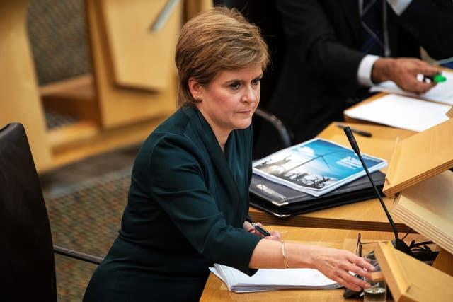 First Minister Nicola Sturgeon presents her government's Programme for Government at the Scottish Parliament in Edinburgh on Tuesday