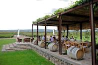 Tourists wine tasting at the Pulenta Estate vineyard in Mendoza, Argentina