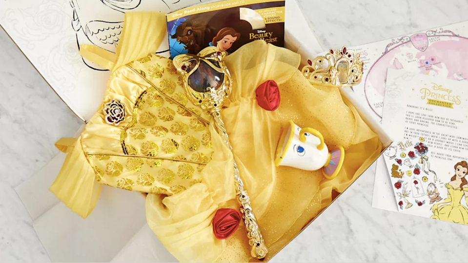 """<p>For those in the throes of a princess obsession, this box sends <strong>a Disney Store princess costume</strong> to your door each month; each box also contains a book, stickers, activities. and a video greeting from the princess. If your kid is going to make you buy all the costumes anyway, you might as well get all the rest thrown in.</p><p><em>$48+ per month<br>Ages: 3–10</em></p><p><a class=""""link rapid-noclick-resp"""" href=""""https://go.redirectingat.com?id=74968X1596630&url=https%3A%2F%2Fwww.shopdisney.com%2Fsubscription%2Fdisney-princess-enchanted-collection&sref=https%3A%2F%2Fwww.goodhousekeeping.com%2Flife%2Fg5093%2Fsubscription-boxes-for-kids%2F"""" rel=""""nofollow noopener"""" target=""""_blank"""" data-ylk=""""slk:BUY NOW"""">BUY NOW</a></p>"""