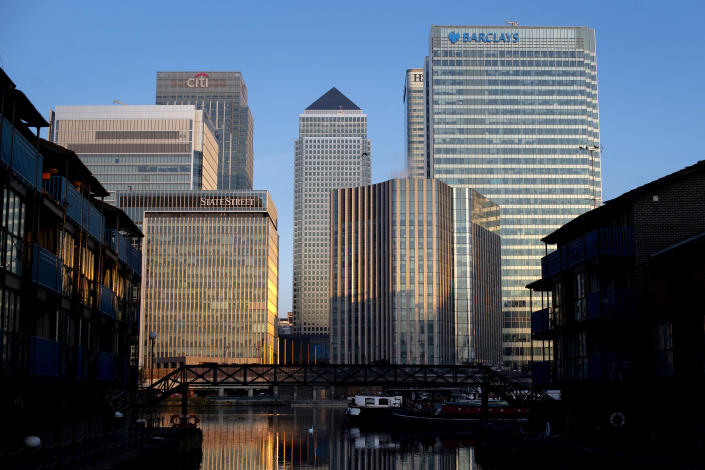 Offices in Canary Wharf, London. Credit: Getty.