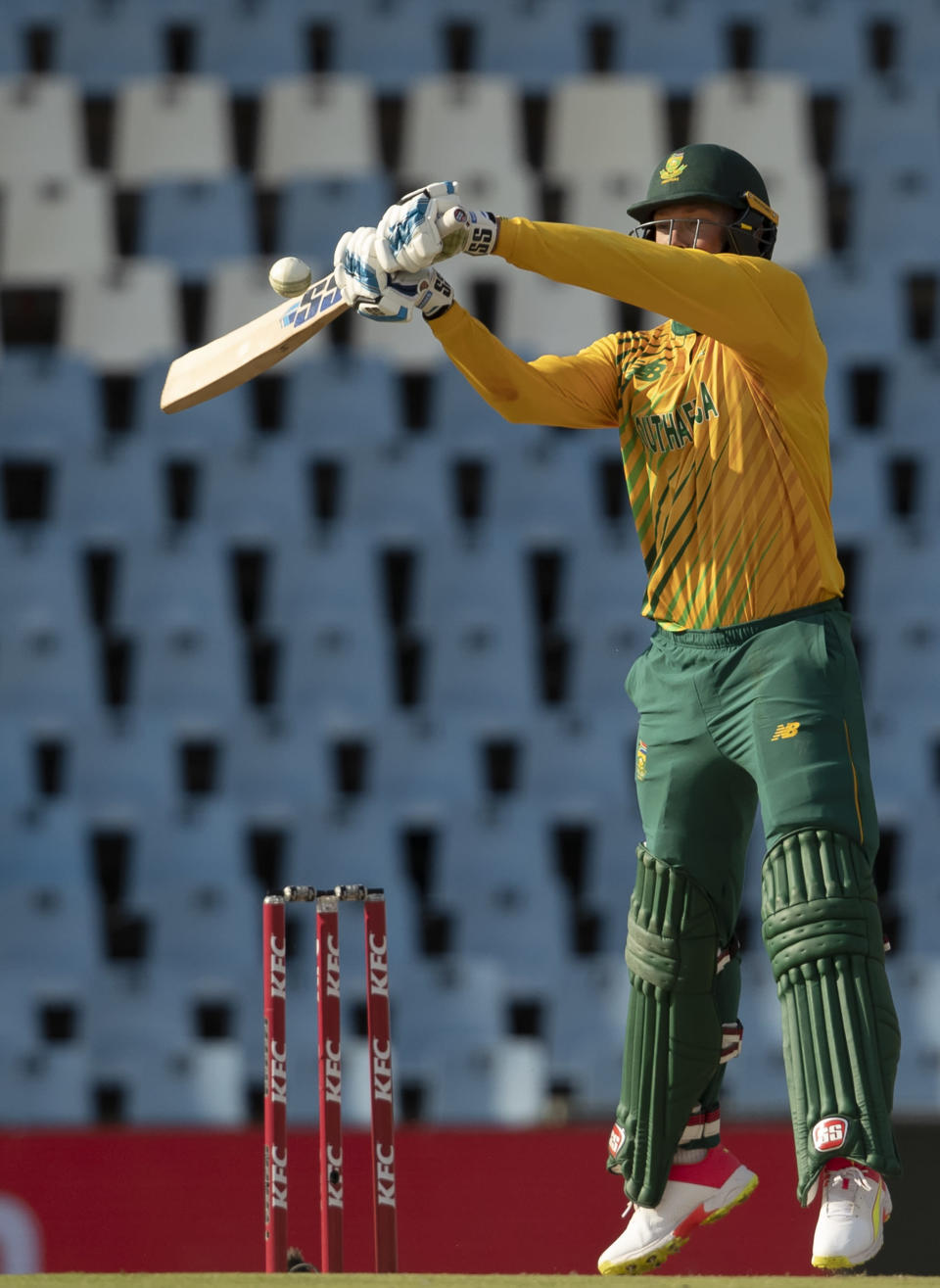 South Africa's batman Rassie van der Dussen plays a high ball during the fourth and final T20 cricket match between South Africa and Pakistan at Centurion Park in Pretoria, South Africa, Friday, April 16, 2021. (AP Photo/Themba Hadebe)