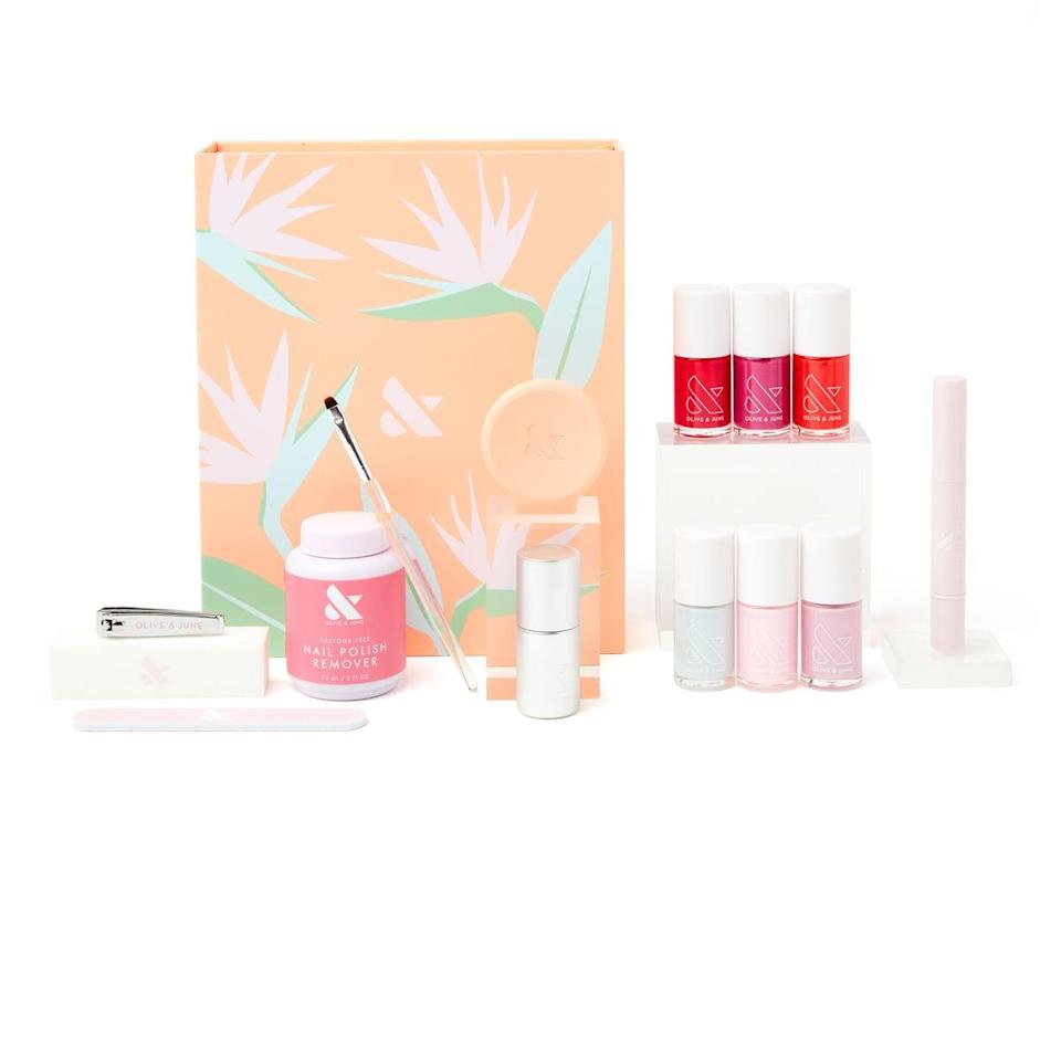<p>The <span>Olive &amp; June The Spring Box</span> ($80) brings the salon to you with this at-home manicure and pedicure kit. You get the entire spring collection and the Super Glossy Top Coat, plus a bonus shade of your choice, a cuticle oil pen, and high-quality nail tools such as a nail cutter, filer, buffer and precision tool, and nail polish remover.</p>
