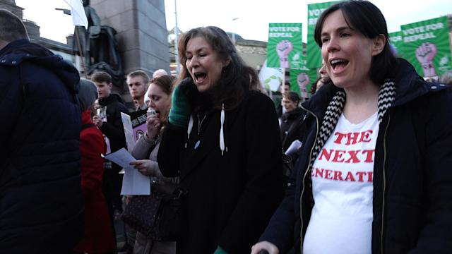A pregnant woman cries out in support of repealing the eighth amendment.