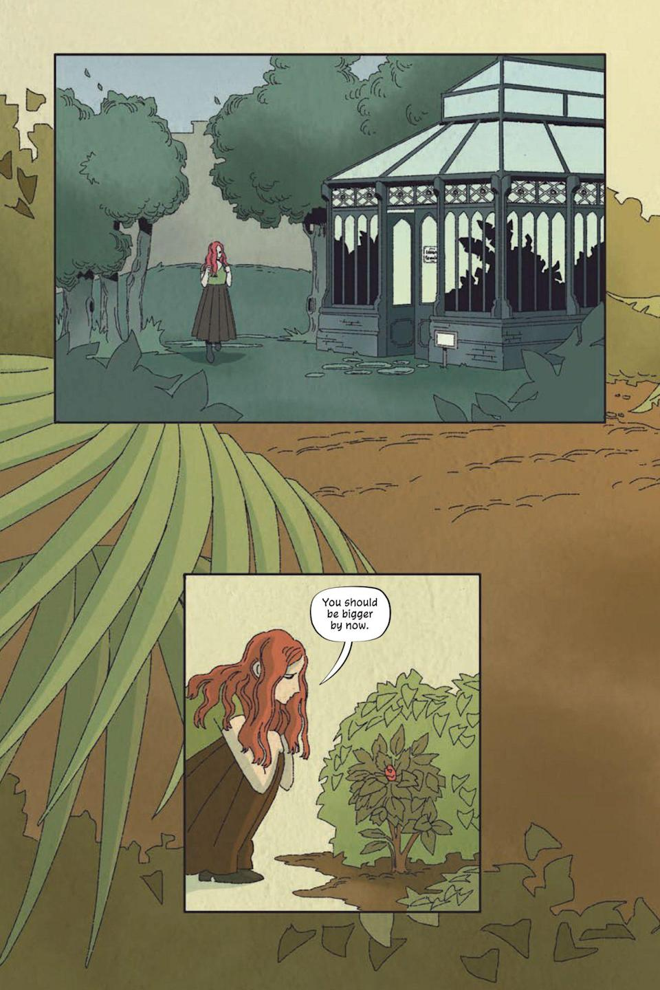 A page from Poison Ivy Thorns shows Ivy in the school garden