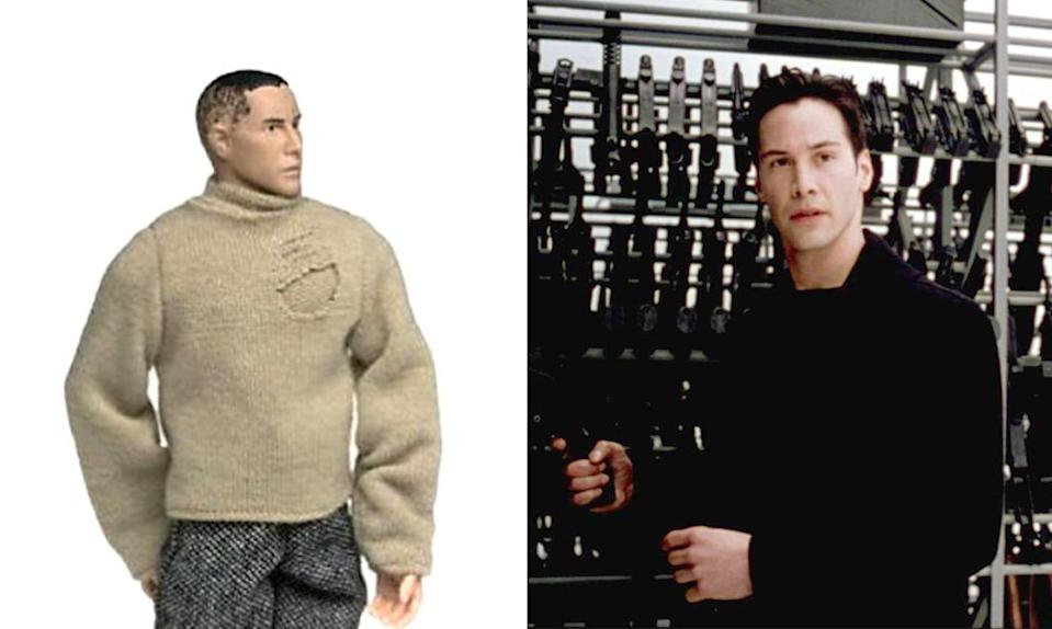 <p>Here's the action figure everyone wanted – Keanu Reeves in his burlap bag shirt from 'The Matrix!' (Photo: Everett)</p>