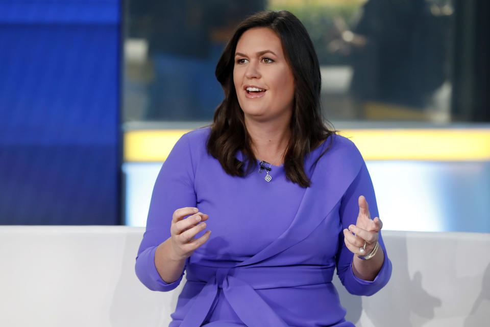 """FILE - In this Friday, Sept. 6, 2019, file photo, Fox News contributor Sarah Sanders makes her first appearance on the """"Fox & Friends"""" television program in New York. Former White House Press Secretary Sarah Sanders raised more than $1 million in the first four days of her bid for Arkansas governor, her campaign said Thursday, Jan. 28, 2021. Sanders announced on Monday she was running for Arkansas governor with a nearly eight-minute video that embraced former President Donald Trump, even as the Senate prepares for an impeachment trial on charges he incited the deadly Jan. 6 riot at the U.S. Capitol. (AP Photo/Richard Drew, File)"""