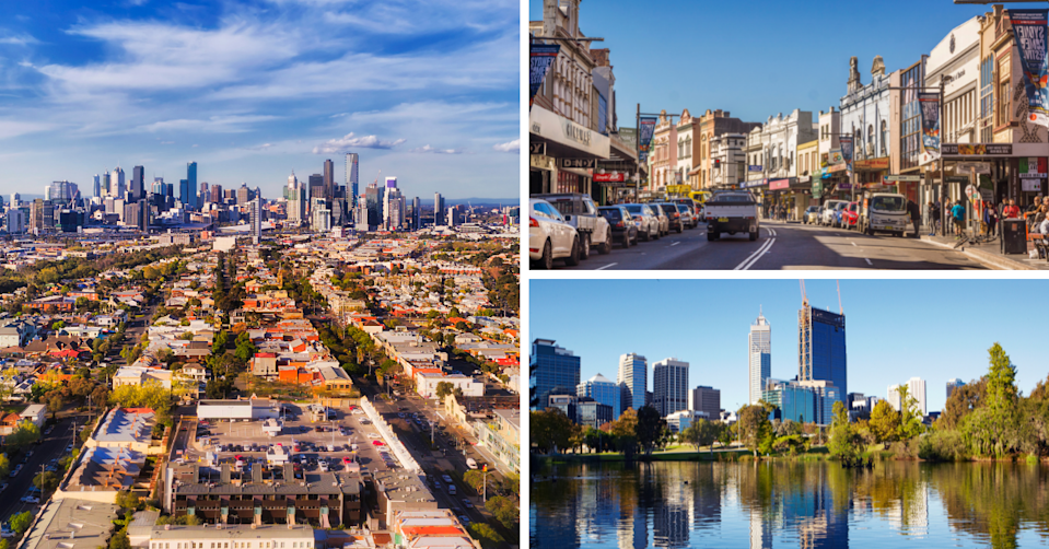 Skylines of Melbourne and Perth and King Street in Newtown