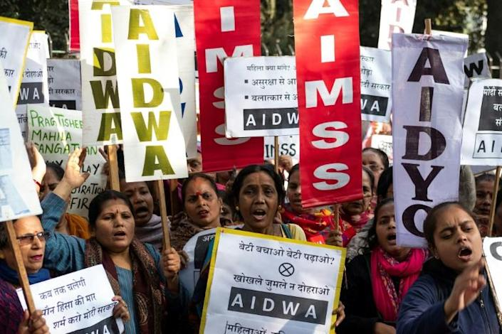 Demonstrations in New Delhi expressed anger over the alleged rape and murder of a 27-year-old veterinary doctor in Hyderabad (AFP Photo/Laurene Becquart)