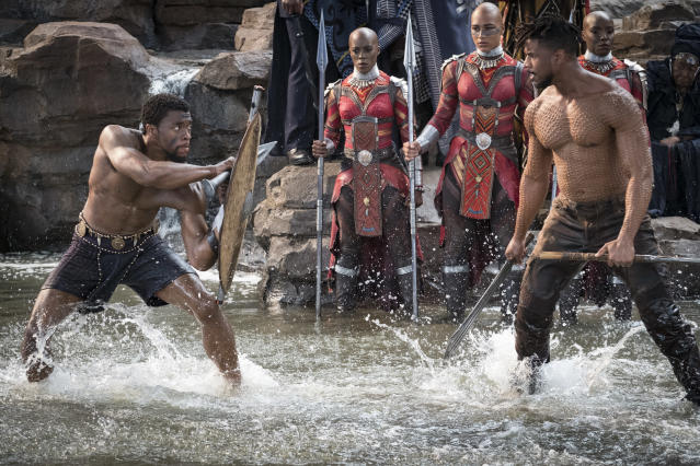 T'Challa (Chadwick Boseman, left) vs. Erik Killmonger (Michael B. Jordan) battle for the throne. (Photo: Marvel Studios)
