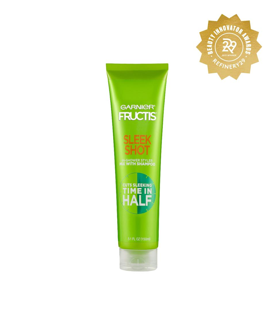 """<h2>Garnier Fructis Sleek Shot In-Shower Styler</h2> <br>The easiest beauty cocktail you'll ever mix is equal parts shampoo and Garnier's Sleek Shot In-Shower Styler, which smooths frizz and adds shine before you even get out of the shower.<br><br><br><strong>Garnier</strong> Garnier Fructis Sleek Shot In-Shower Styler - 5.1 fl oz, $, available at <a href=""""https://www.target.com/p/garnier-fructis-sleek-shot-in-shower-styler-5-1-fl-oz/-/A-75561151#locklink"""" rel=""""nofollow noopener"""" target=""""_blank"""" data-ylk=""""slk:Target"""" class=""""link rapid-noclick-resp"""">Target</a><br><br>"""