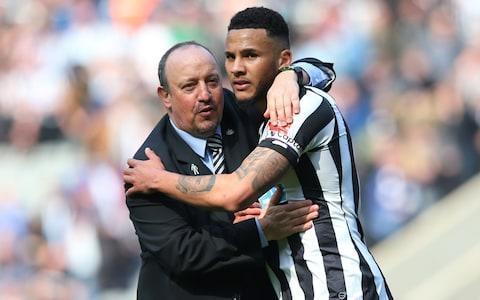 <span>Rafa Benitez and Newcastle captain, Jamaal Lascelles celebrate their 2-1 win</span> <span>Credit: Getty Images </span>