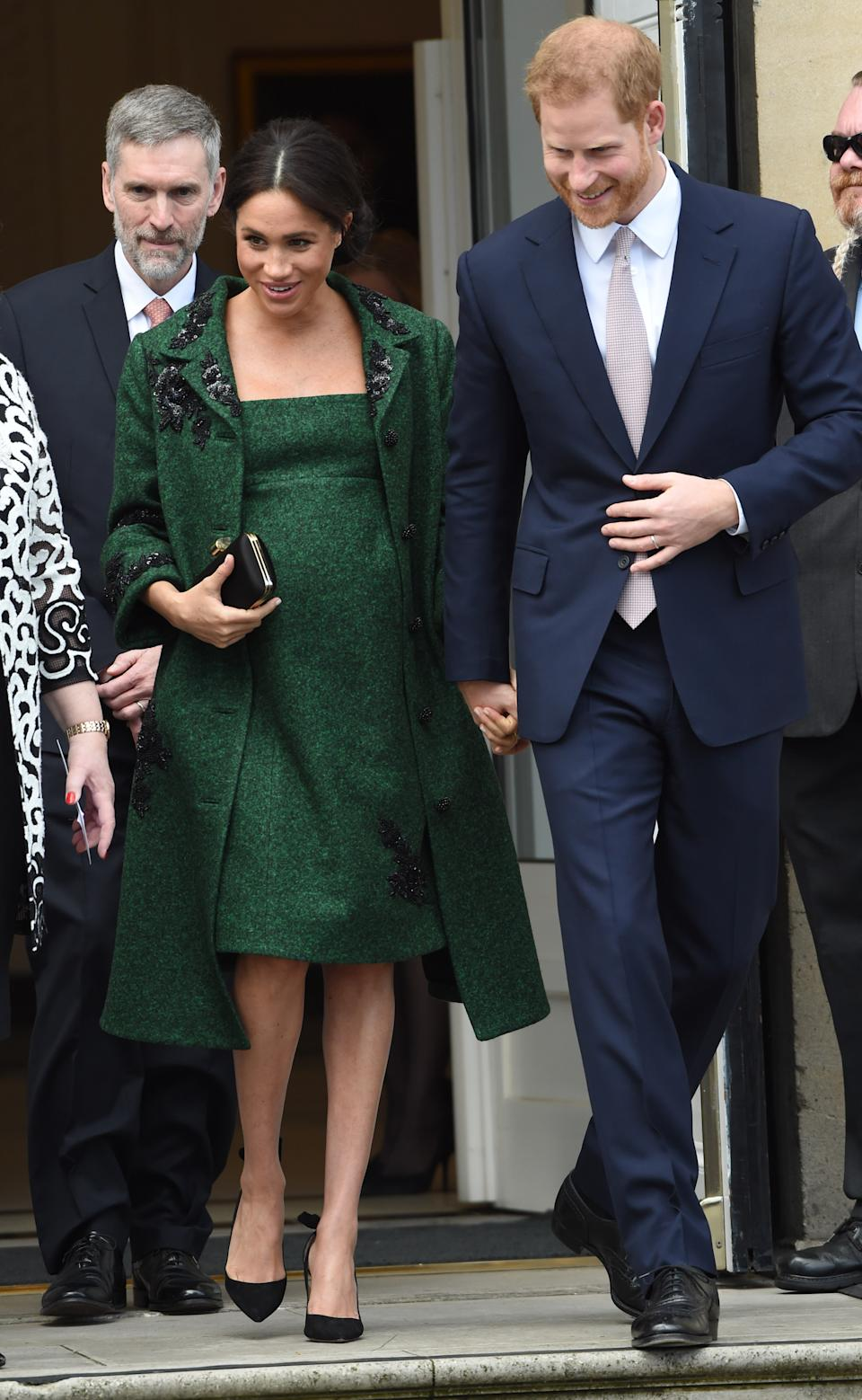 Wearing an Erdem outfit. (Getty Images)