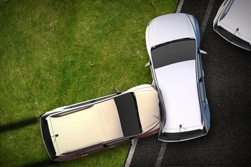 Aerial view of car accident
