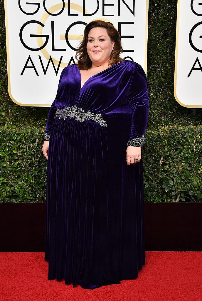 Chrissy Metz attends the 74th Annual Golden Globe Awards wearing a surprise gown. (Photo: Steve Granitz/WireImage)