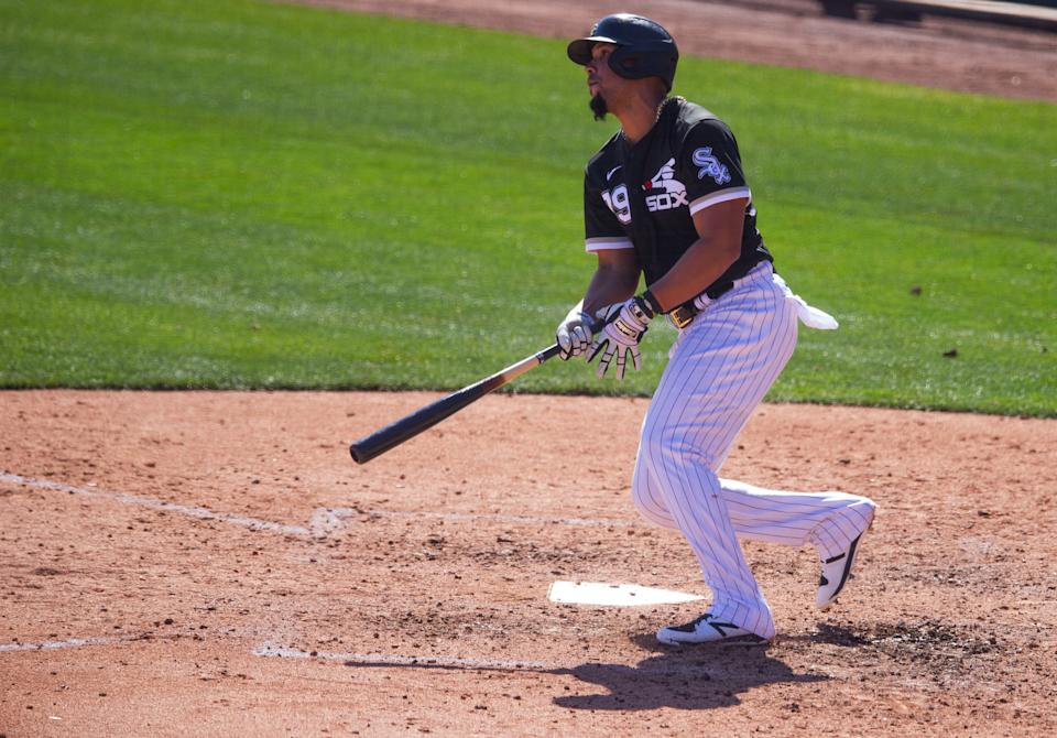 GLENDALE, AZ - MARCH 02:  Jose Abreu #79 of the Chicago White Sox bats during a spring training game against the Texas Rangers at Camelback Ranch on March 2, 2021 in Glendale, Arizona. (Photo by Rob Tringali/Getty Images)