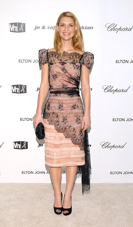 "Kate's former ""Brokedown Palace"" co-star Claire Danes donned a pretty Zac Posen dress with a black lace overlay and matching peep toes at Elton's annual get-together. Mark Sullivan/<a href=""http://www.wireimage.com"" target=""new"">WireImage.com</a> - February 22, 2009"