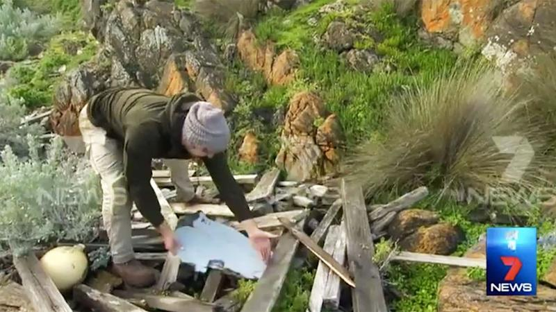 Samuel Armstrong found the piece of debris washed up on Kangaroo Island. Photo: 7 News