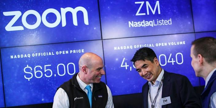 Zoom founder Eric Yuan speaks with a treader after the Nasdaq opening bell ceremony on April 18, 2019 in New York City.