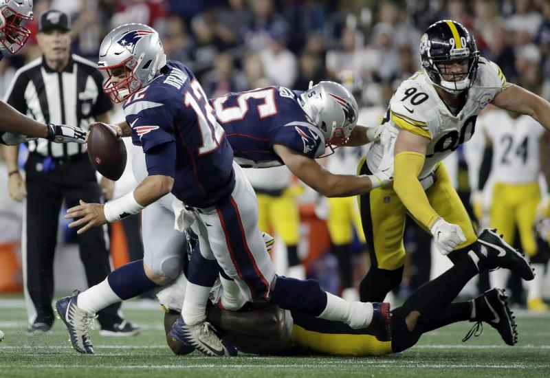 Pittsburgh Steelers outside linebacker Bud Dupree sacks New England Patriots quarterback Tom Brady, left, in the second half of an NFL football game, Sunday, Sept. 8, 2019, in Foxborough, Mass. (AP Photo/Elise Amendola)