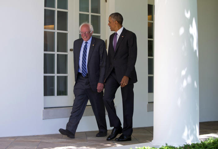 President Barack Obama walks with Sanders at the White House in 2016. (Photo: Pablo Martinez/AP)