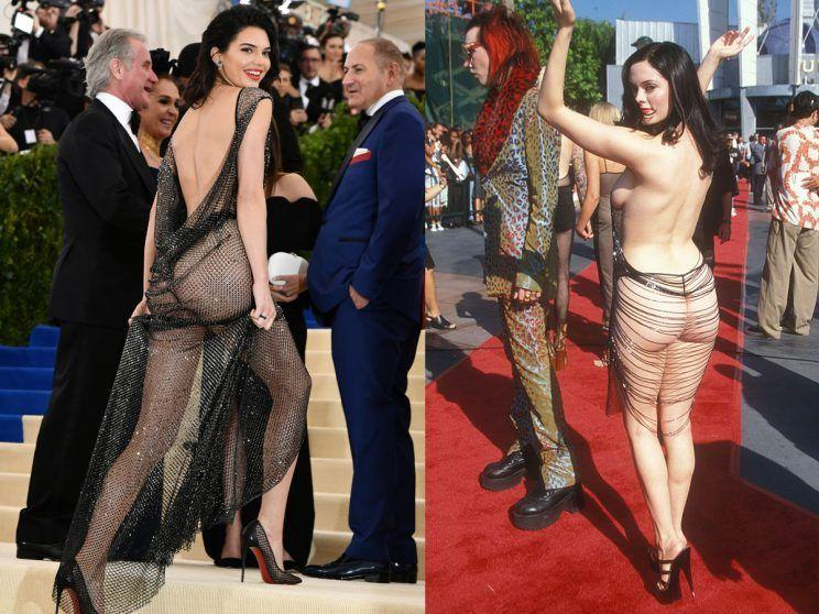 <p>In a sea of celebrities, Kendall Jenner made sure all eyes were on her at the 2017 Met Gala in a black sheer La Perla Haute Couture gown – reportedly made out of 85,000 hand-painted crystals! Jenner complemented the look with a thong, towering heels, flipped over shoulder-length tresses, neutral makeup and a bold lip. Yaasss, honey. The look was somewhat akin to what actress Rose McGowan donned at the 1998 MTV VMAs. Previously seen as one of the most daring red carpet looks of all time—and now the new norm for most celebs—McGowan nearly bared it all in a sheer, midi-length, backless shift dress. We could do a who wore it better—but tell us, is this too much sheer for your taste? <i> (Photo: Rex/Getty Images) </i> </p>