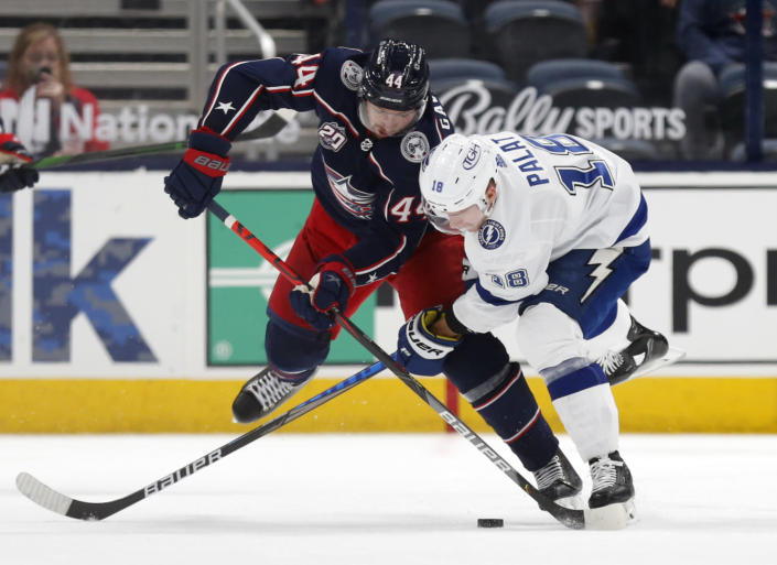 Columbus Blue Jackets defenseman Vladislav Gavrikov, left, and Tampa Bay Lightning forward Ondrej Palat work for the puck during the second period of an NHL hockey game in Columbus, Ohio, Thursday, April 8, 2021. (AP Photo/Paul Vernon)