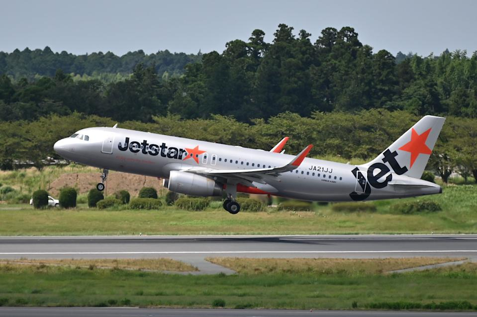 A Jetstar aircraft takes off at the Narita International Airport in Narita, Chiba Prefecture on August 19, 2020. (Photo by CHARLY TRIBALLEAU / AFP) (Photo by CHARLY TRIBALLEAU/AFP via Getty Images)
