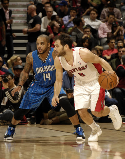 TORONTO, CANADA - DECEMBER 21: Jose Calderon #8 of the Toronto Raptors looks for the open man against the Orlando Magic during the game on December 19, 2012 at the Air Canada Centre in Toronto, Ontario, Canada. (Photo by Ron Turenne/NBAE via Getty Images)