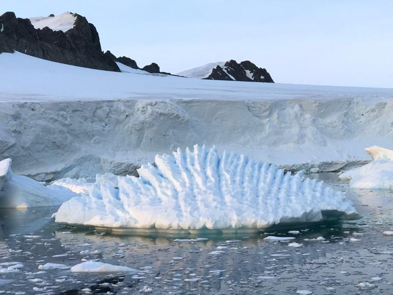 Andrew Shepherd shows an unusual iceberg near the Rothera Research Station on the Antarctic Peninsula. In a study released Wednesday