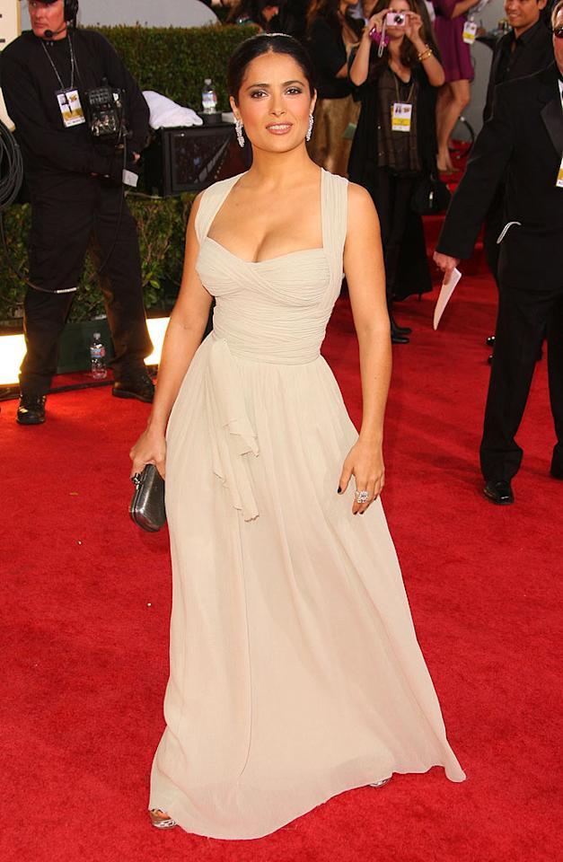 """Although she's known for wearing fiery gowns on the red carpet, Salma Hayek still stood out at the 2008 Golden Globes in a dreamy taupe dress by Dior. Vince Bucci/<a href=""""http://www.wireimage.com"""" target=""""new"""">WireImage.com</a> - January 11, 2009"""