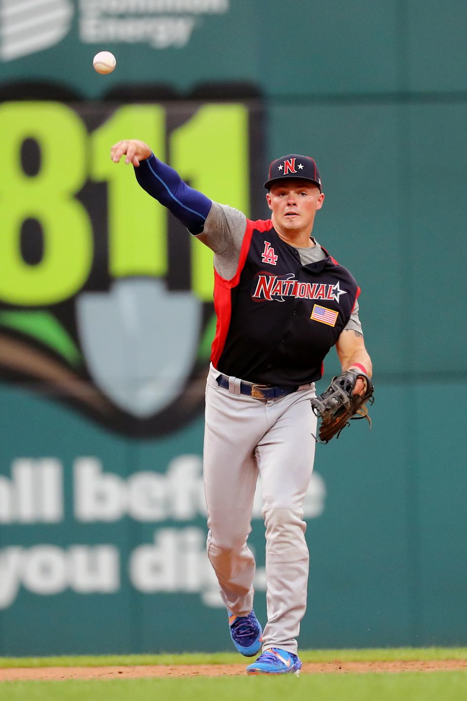 CLEVELAND, OH - JULY 07:  Gavin Lux #10 of the National League Futures Team throws to first for the out during the SiriusXM All-Star Futures Game at Progressive Field on Sunday, July 7, 2019 in Cleveland, Ohio. (Photo by Alex Trautwig/MLB Photos via Getty Images)