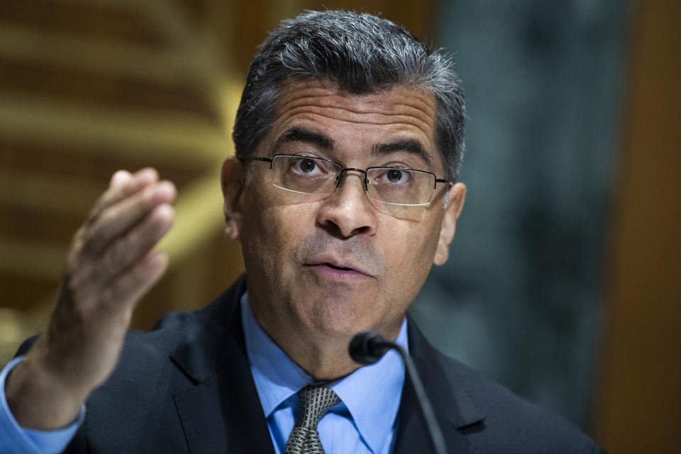 Xavier Becerra, secretary of Health and Human Services, testifies during the Senate Finance Committee on Thursday, June 10, 2021. (Tom Williams/CQ-Roll Call, Inc via Getty Images)