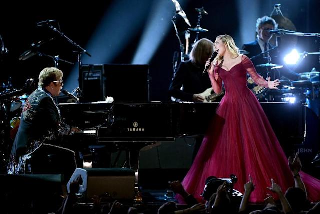 <p>Elton John and Miley Cyrus perform onstage during the 60th Annual Grammy Awards at Madison Square Garden on January 28, 2018, in New York City. (Photo: Getty Images) </p>