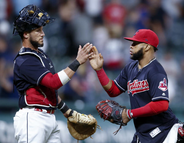 The Indians are still playing for home-field throughout the American League playoffs. (AP Photo/Ron Schwane)