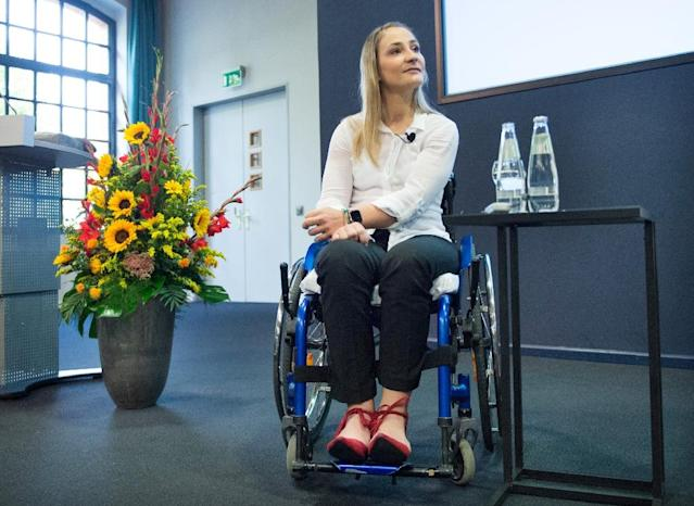"""I know I'll never walk again,"" said Olympic and world sprint cycling champion Kristina Vogel at a press conference on Wednesday (AFP Photo/Annegret Hilse)"