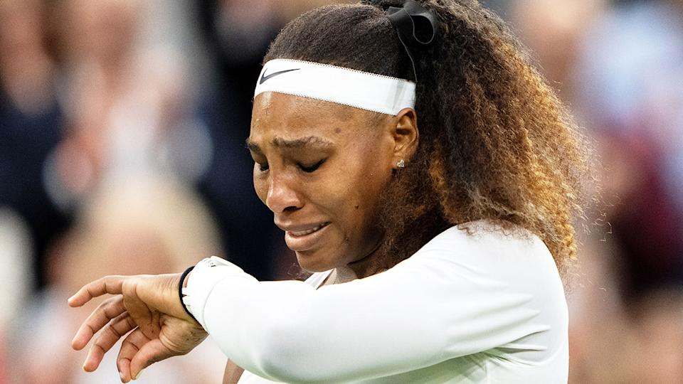 Seen here, Serena Williams is reduced to tears after withdrawing from Wimbledon due to injury.