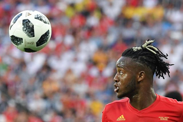 Belgium's forward Michy Batshuayi eyes the ball during the Russia 2018 World Cup Group G football match between England and Belgium at the Kaliningrad Stadium in Kaliningrad on June 28, 2018. (Getty Images)