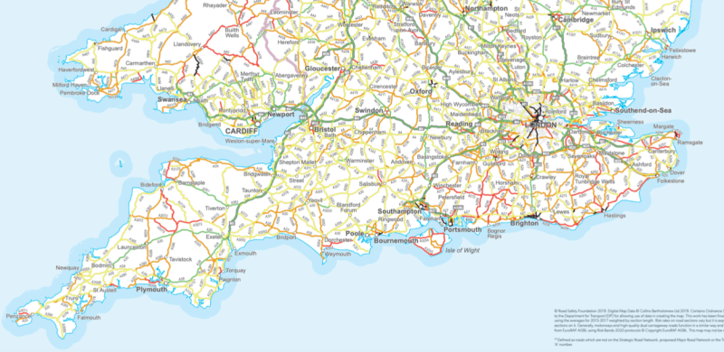 High-risk roads, highlighted in black, across the south of the country (Road Safety Foundation)